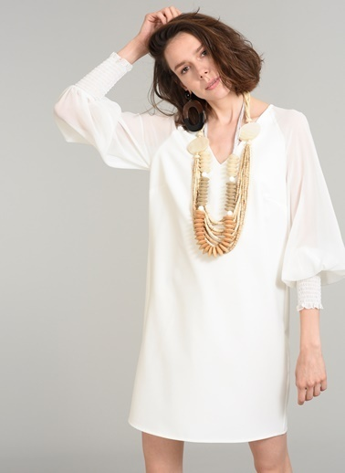 People By Fabrika Şifon Kollu Elbise Beyaz